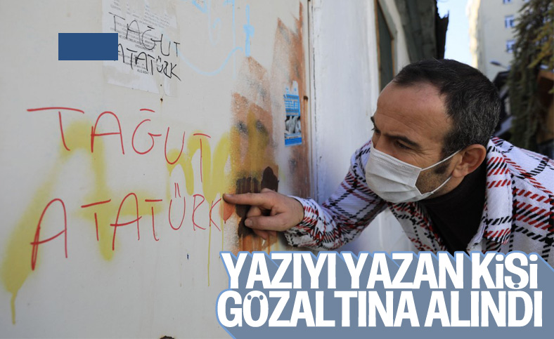 Antalya'da 'Tağut Atatürk' yazan şüpheli gözaltına alındı