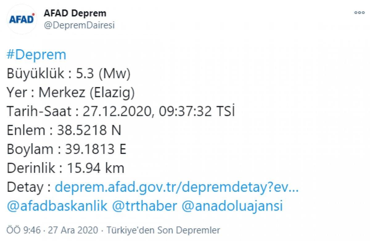 Elazığ da 5.3 büyüklüğünde deprem #1