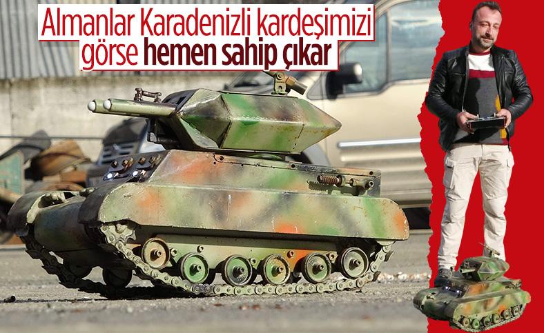 Hurda parçalarından mini tank yapan Trabzonlu