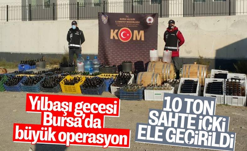 Bursa'da yılbaşı gecesi öncesi 10 ton sahte içki ele geçirildi