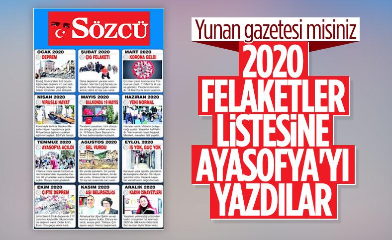 Sözcü gazetesi Ayasofya'nın ibadete açılmasını felaket olarak gördü