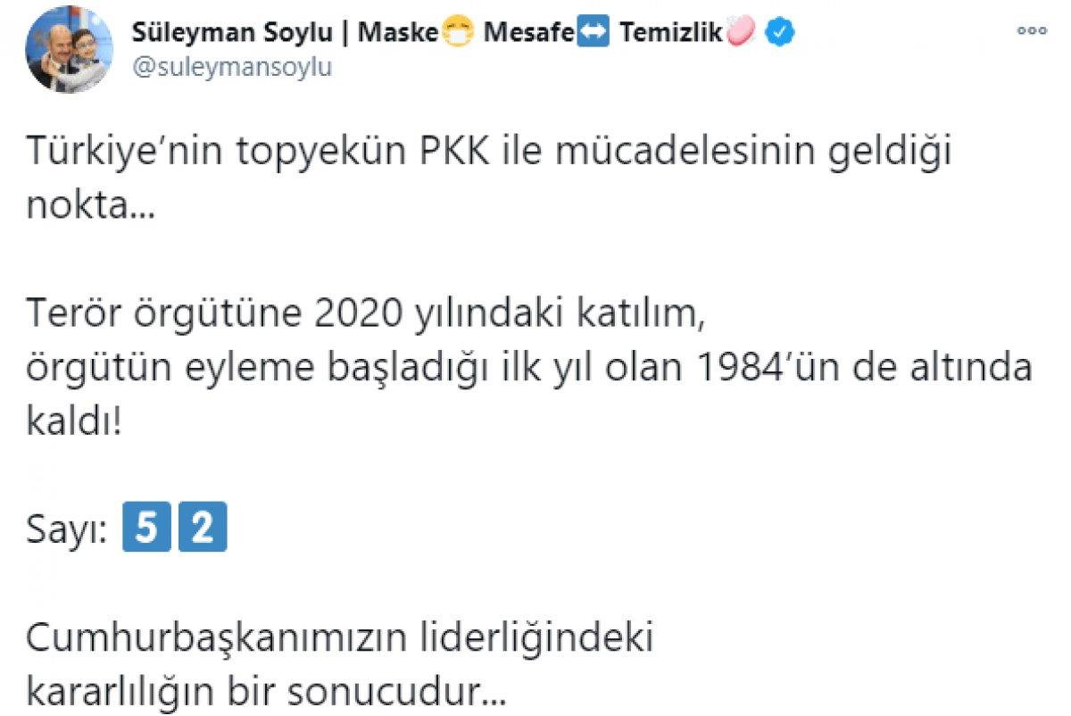Süleyman Soylu, 2020 de PKK ya katılım sayısını açıkladı #3