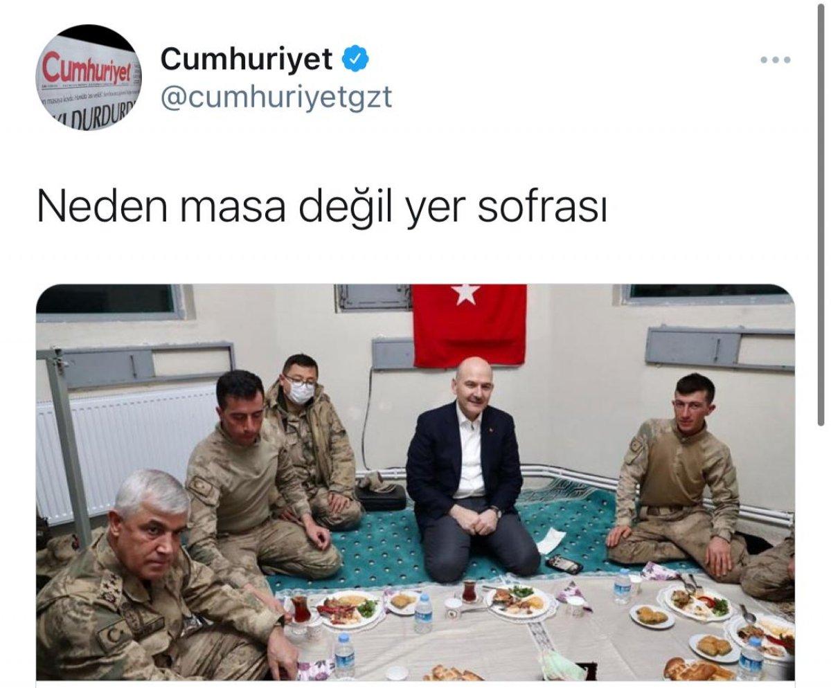 Bakan Soylu nun askerlerle yer sofrası, Cumhuriyet i rahatsız etti #2