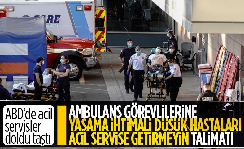 Kaliforniya'da ambulans çalışanlarına, 'yaşam ihtimali zayıf hastaları orada bırakın' talimatı