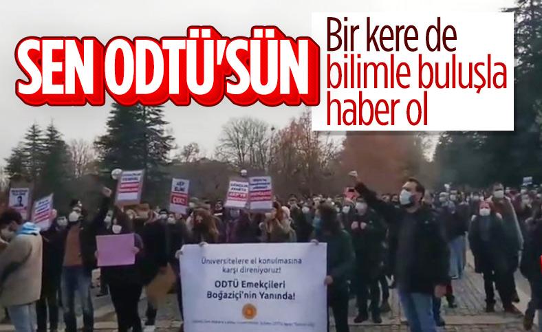 ODTÜ'de, Boğaziçi Üniversitesi'ne destek protestosu