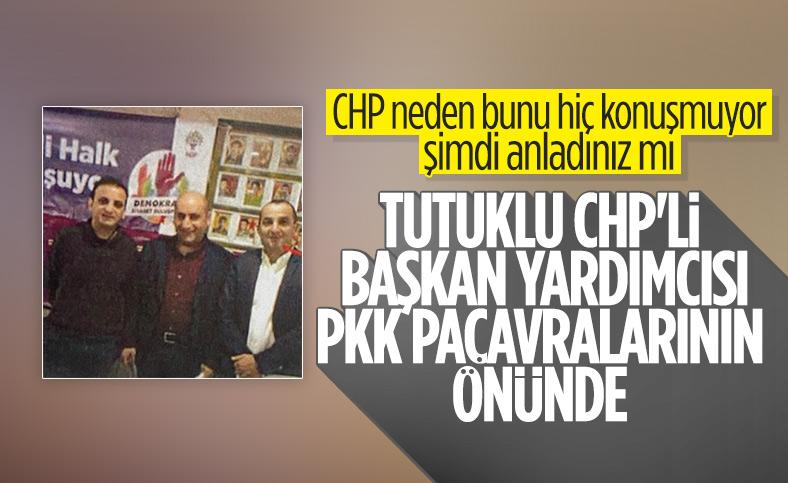 Cihan Yavuz'un sözde PKK bayrağı önündeki pozu