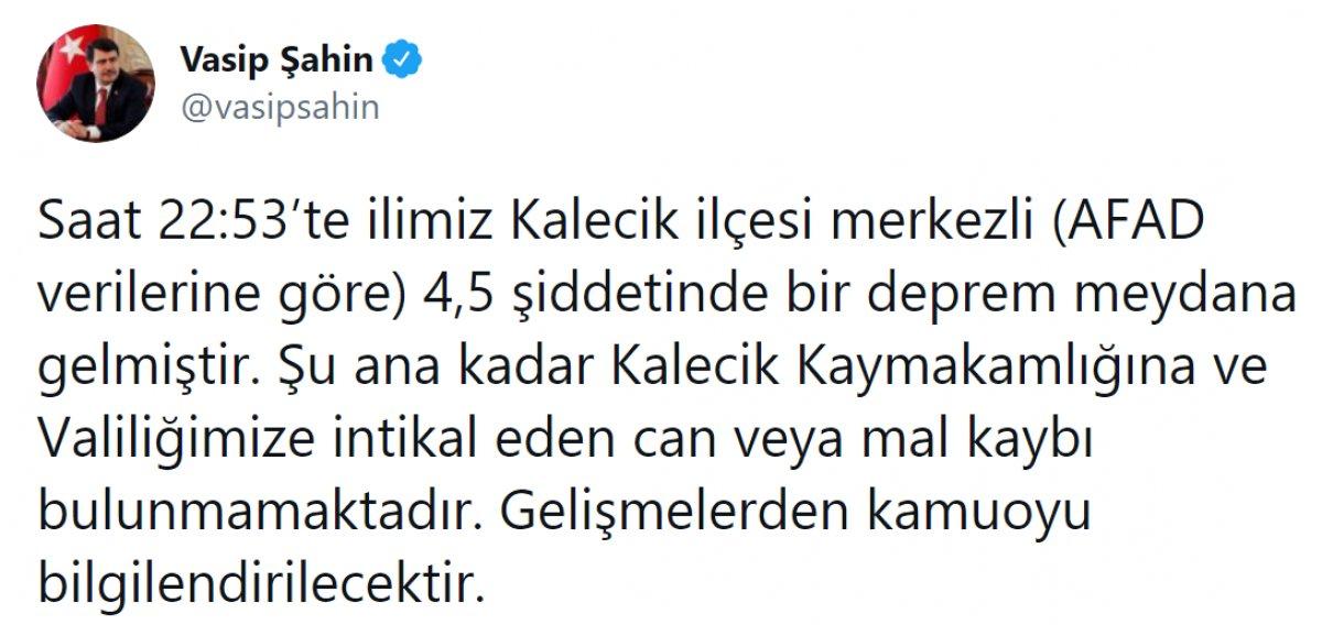 Ankara nın Kalecik ilçesinde 4,5 büyüklüğünde deprem meydana geldi #1