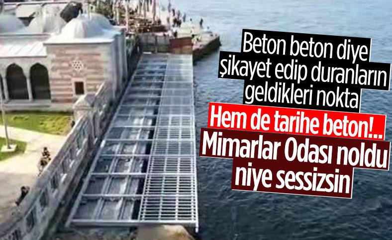İBB, Şemsipaşa Camii'nin deniz tarafına beton yol yapıyor