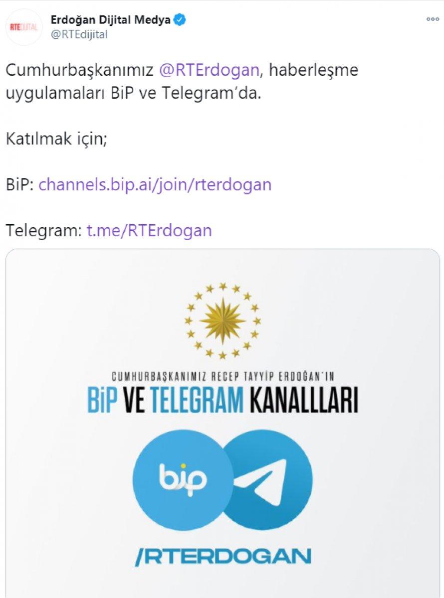 Cumhurbaşkanı Erdoğan BiP ve Telegram'da #2