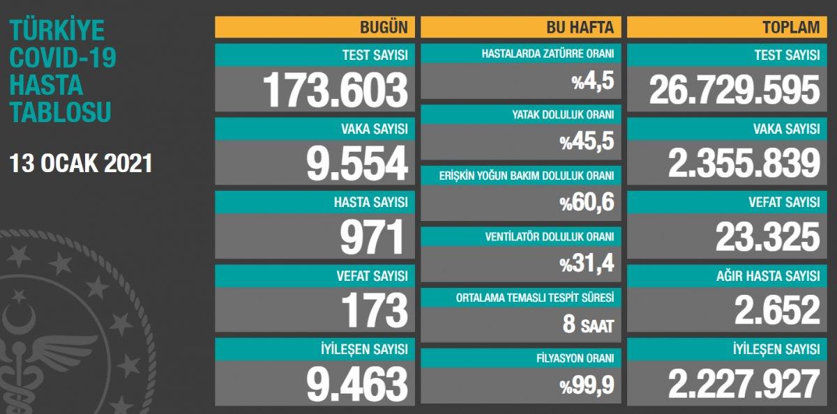 13 Ocak Türkiye de koronavirüs tablosu #1