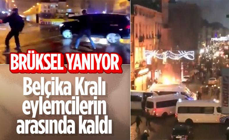 Belçika'daki gösterilerde polis merkezi ateşe verildi