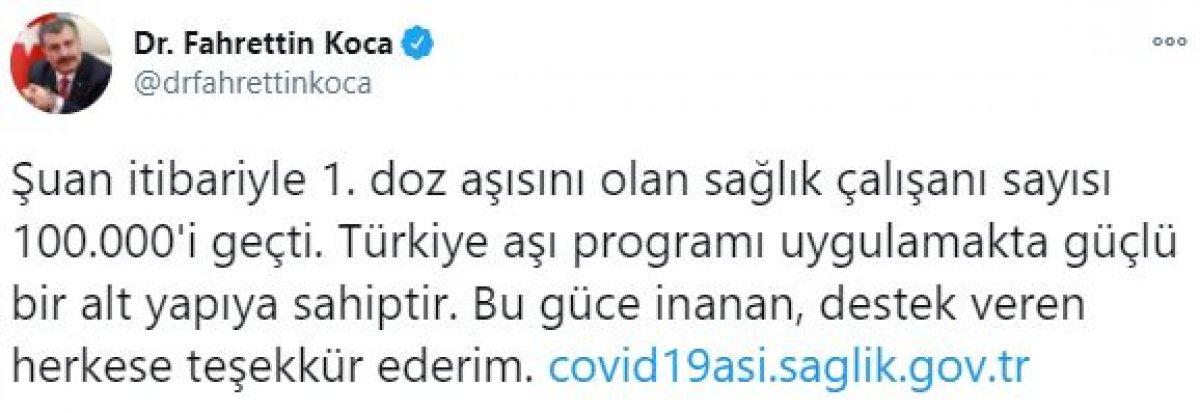 Türkiye de koronavirüs aşısı olan sağlık çalışanı sayısı 100 bini geçti #1