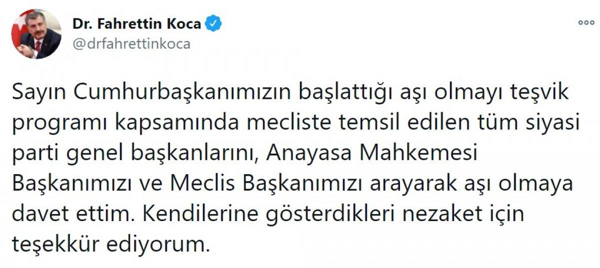 Bakan Koca: Parti genel başkanlarını aşı olmaya davet ettim #1