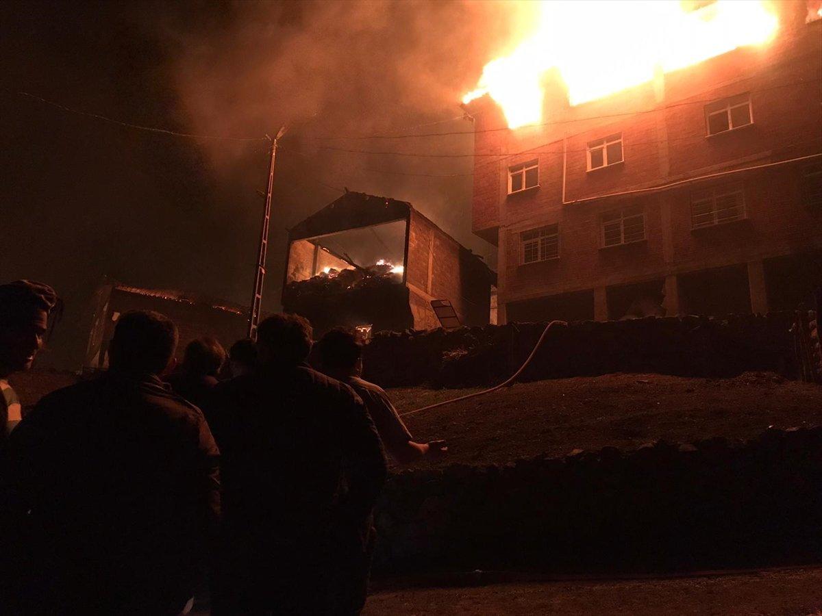 Trabzon da yangınla yok olan mahallede hasar tespiti yapılıyor #1
