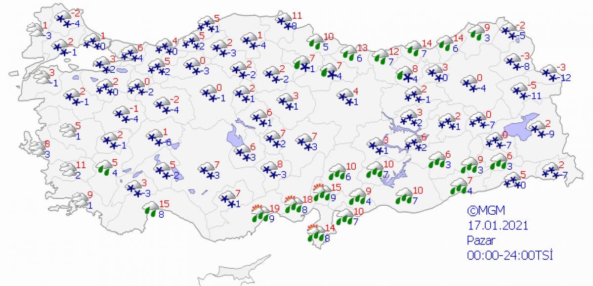 Kar etkisine giren Türkiye de 5 günlük hava durumu #9