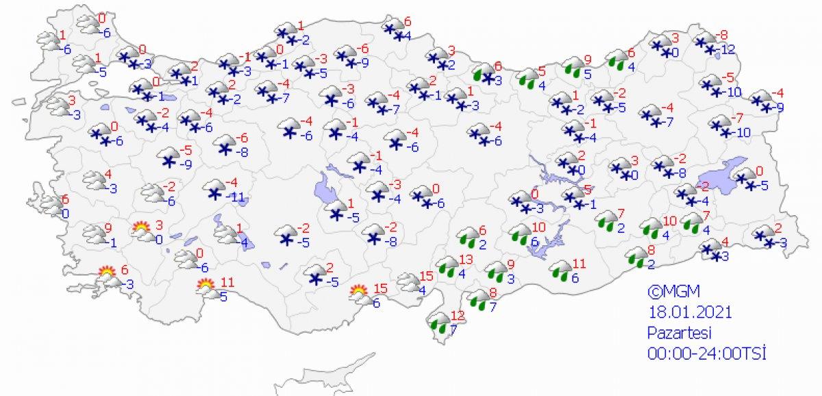 Kar etkisine giren Türkiye de 5 günlük hava durumu #10
