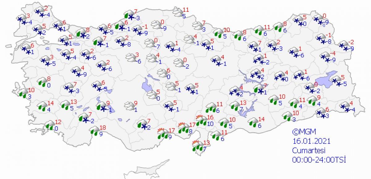 Kar etkisine giren Türkiye de 5 günlük hava durumu #8