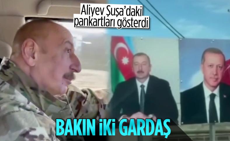Şuşa'da Cumhurbaşkanı Erdoğan ve Aliyev'in pankartları dikkat çekti