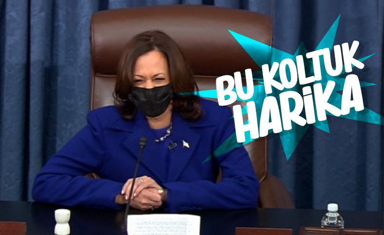 Kamala Harris, Senato'da konuşurken kahkaha attı