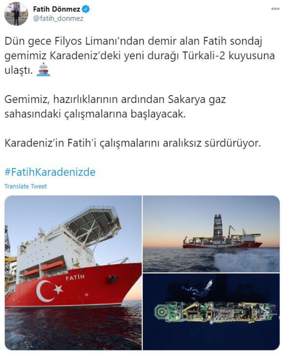 fatih sondaj gemisi yeni sondaj lokasyonu turkali 2ye ulasti 2174