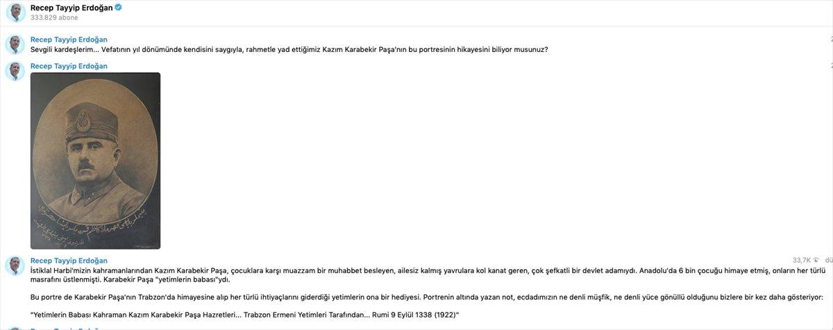 Cumhurbaşkanı Erdoğan dan  Kazım Karabekir  paylaşımı #1