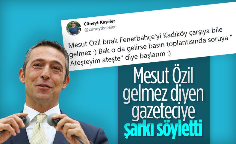 Mesut Özil'in imza töreninde Cüneyt Kaşeler'e tweet hatırlatması