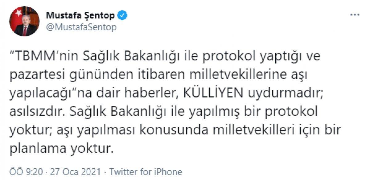 Mustafa Şentop, milletvekillerine aşı yapılacağı iddiasını yalanladı #2
