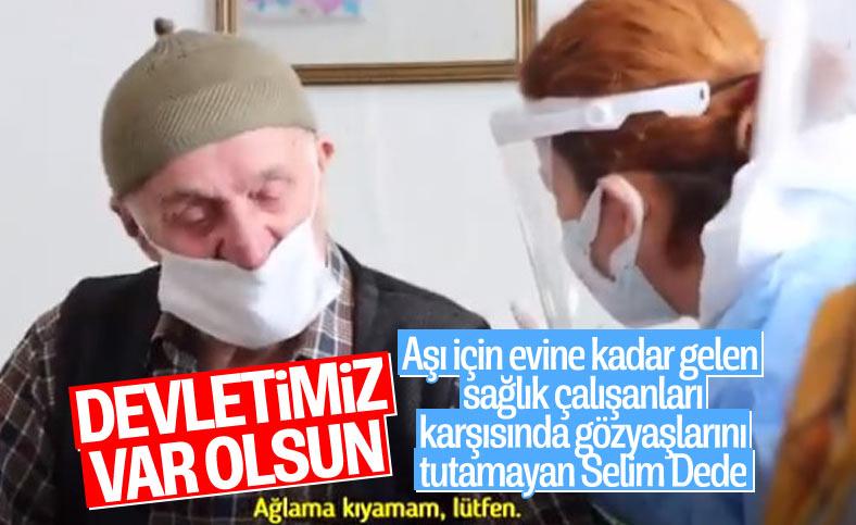 Fahrettin Koca aşı olan Selim Dede'nin duygu dolu görüntülerini paylaştı