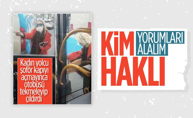 Beşiktaş'ta kadının otobüse saldırdığı anlar