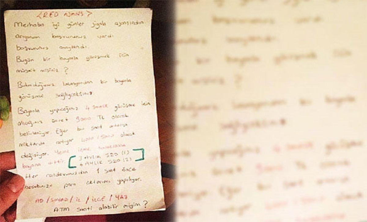 Balıkesir'de jigolo çetesine ait not ortaya çıktı  #1