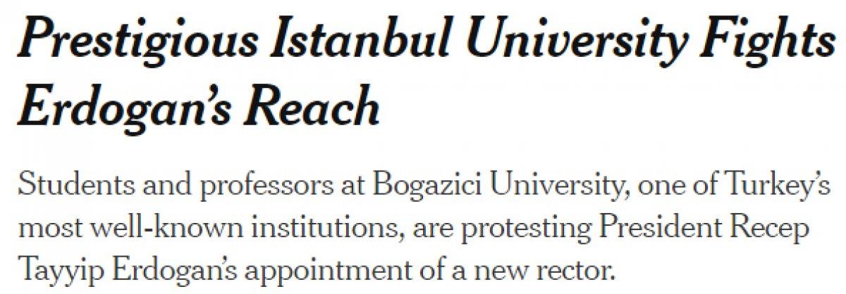New York Times, Boğaziçi ndeki gösterilere destek verdi #2