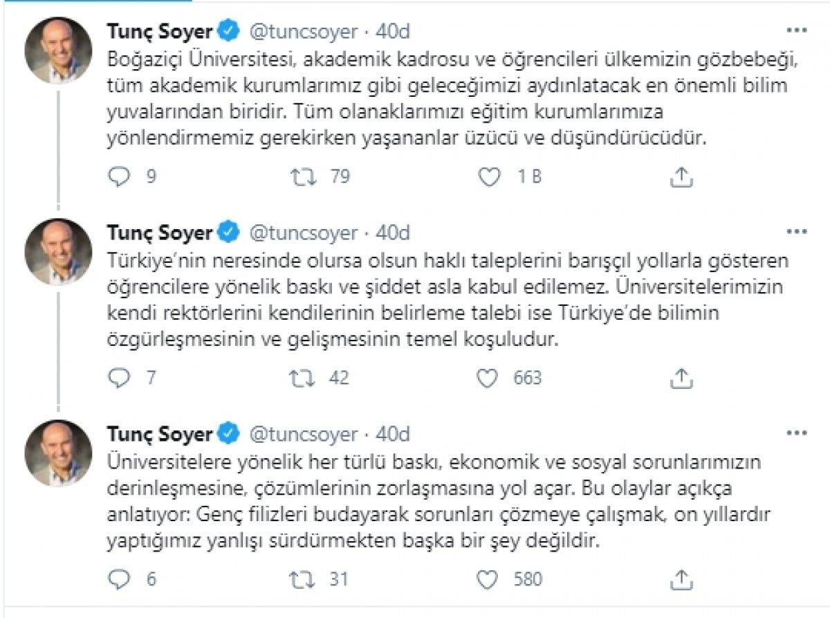 Tunç Soyer den Boğaziçi protestolarına destek #2