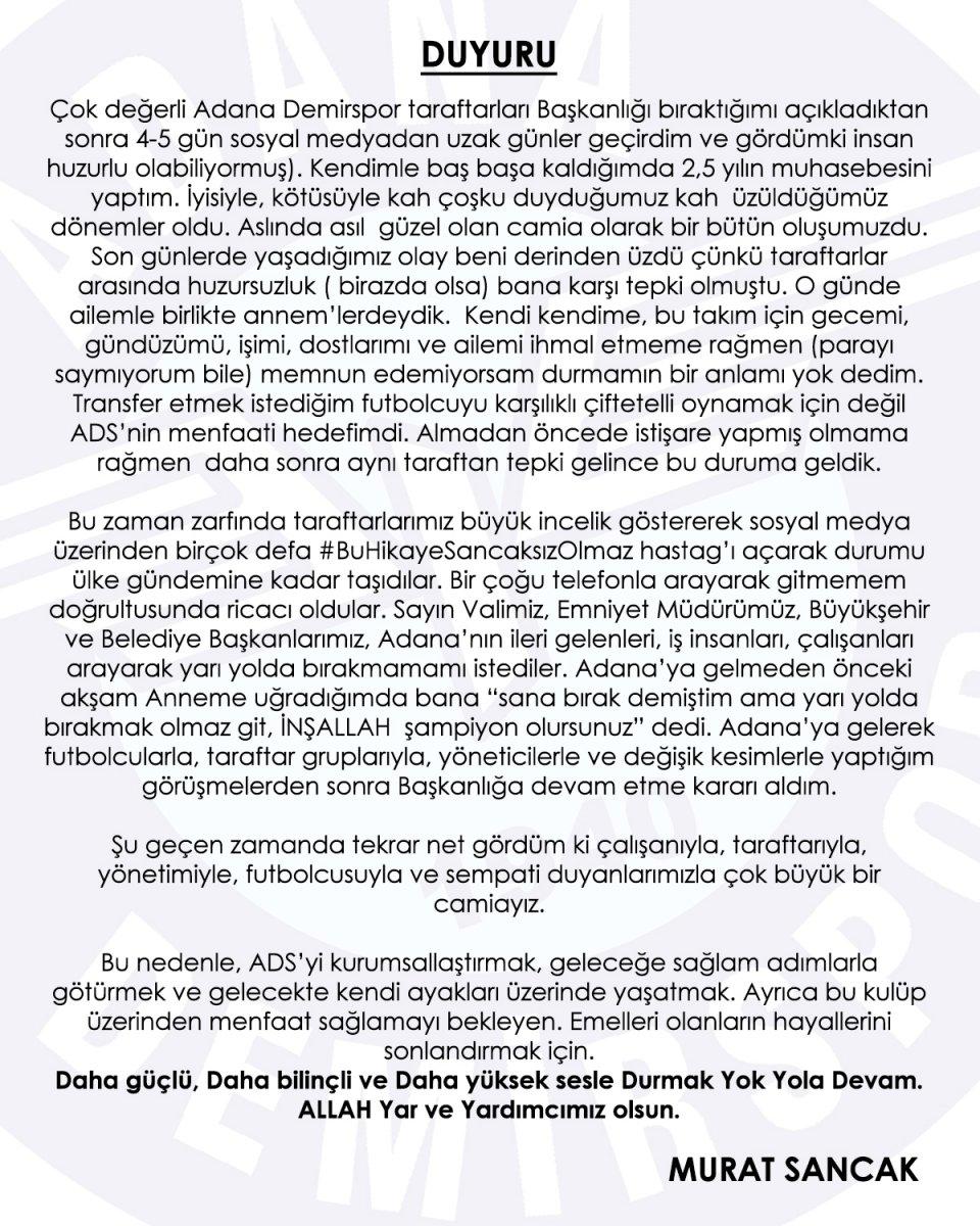 Adana Demirspor Başkanı Murat Sancak istifadan vazgeçti #1