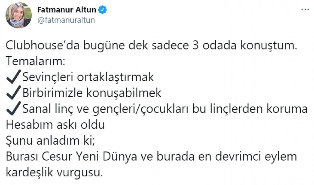 Fatmanur Altun un Clubhouse hesabı askıya alındı #1