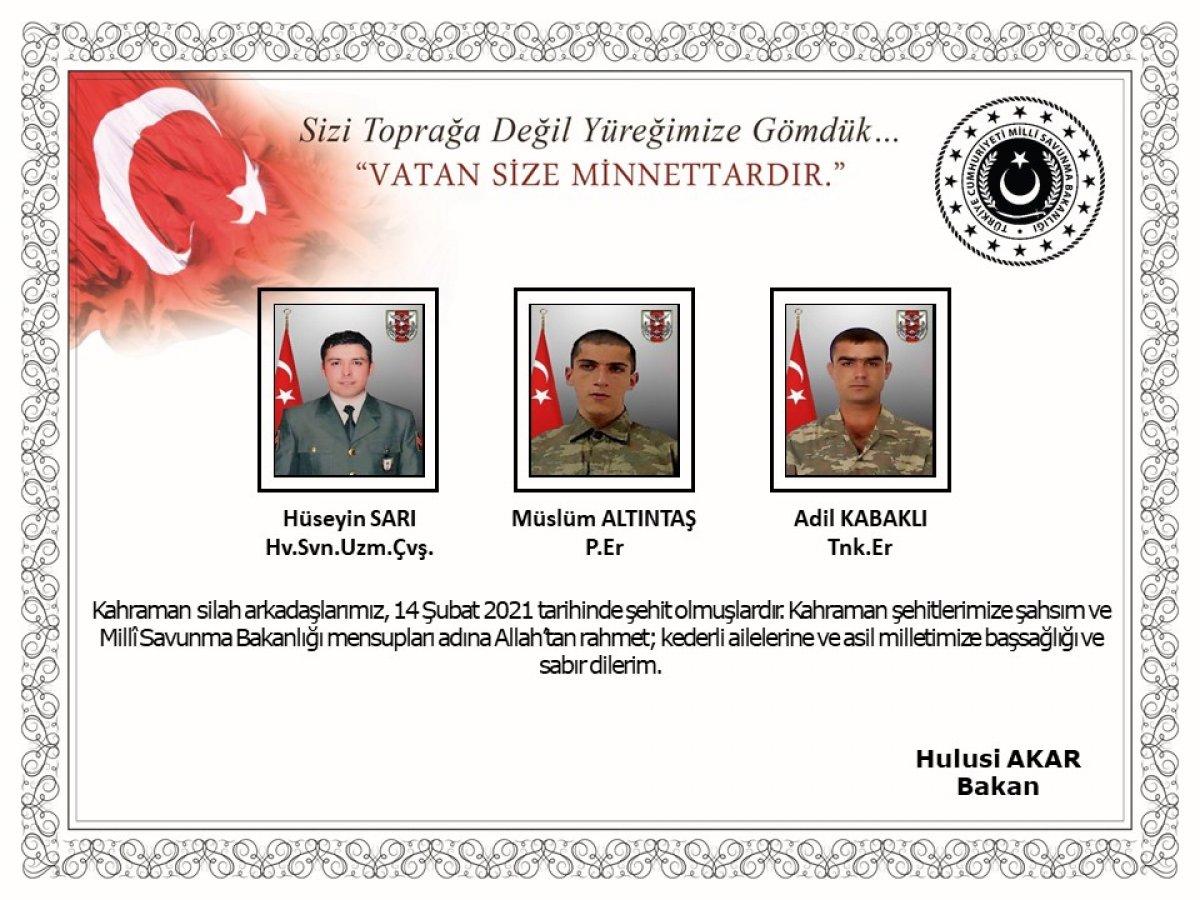 Milli Savunma Bakanlığı: Şehitlerimize Allah'tan rahmet dileriz #3