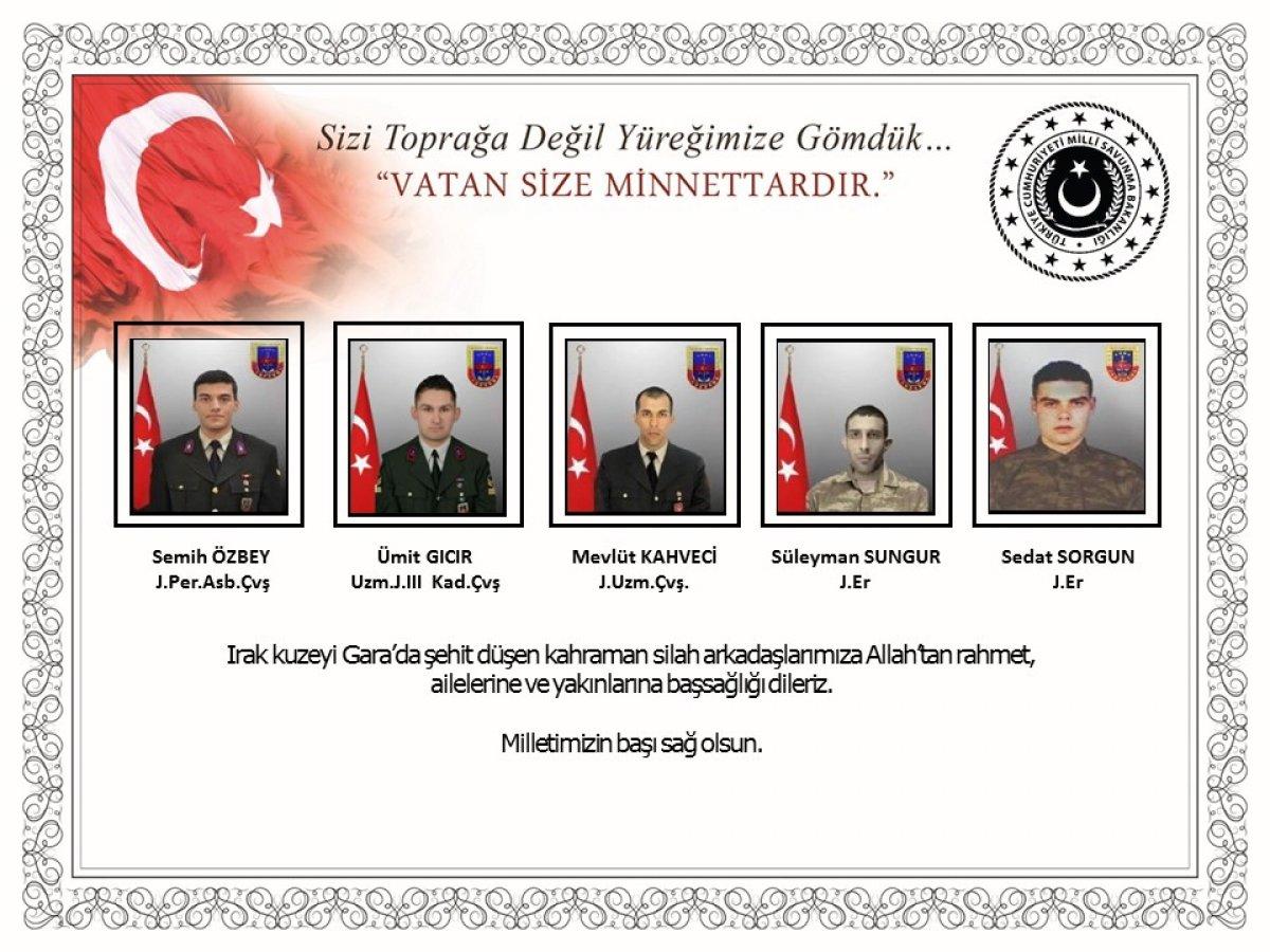 Milli Savunma Bakanlığı: Şehitlerimize Allah'tan rahmet dileriz #1