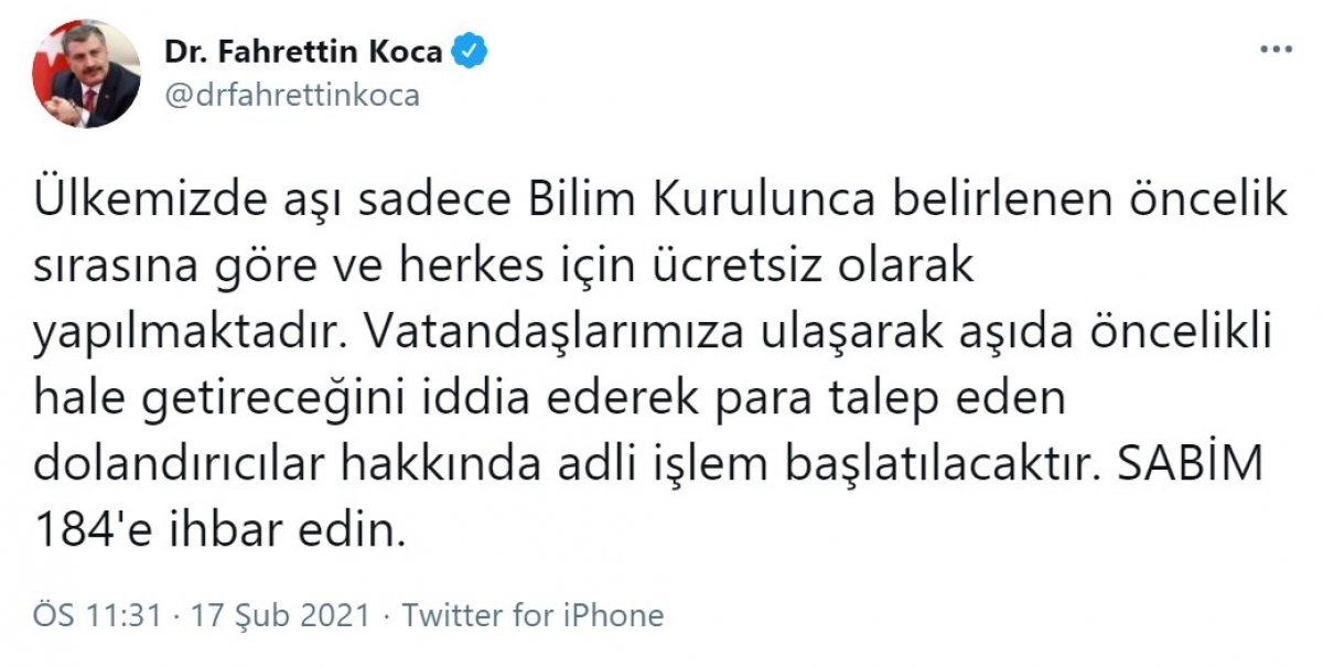 Sağlık Bakanı Fahrettin Koca aşı dolandırıcılığına karşı uyardı #1