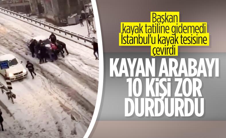 İstanbul'da yokuştan kayan aracı durdurma çabası