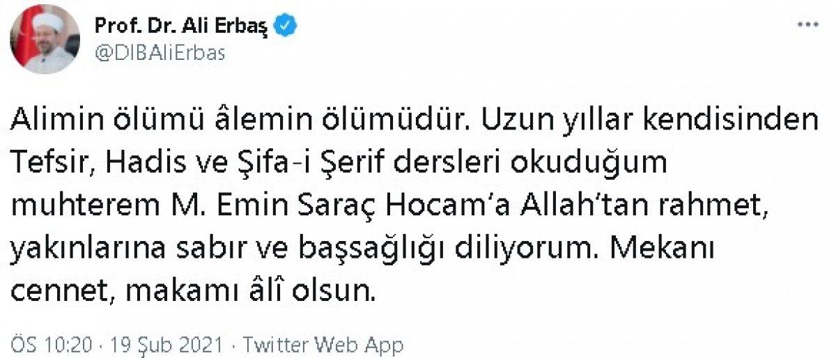 Hadis alimi Muhammed Emin Saraç vefat etti #1