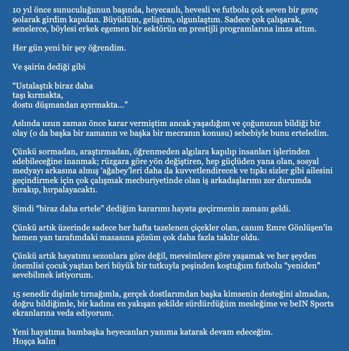Nazlı Canyurt, beIN Sports tan ayrıldığını açıkladı #1