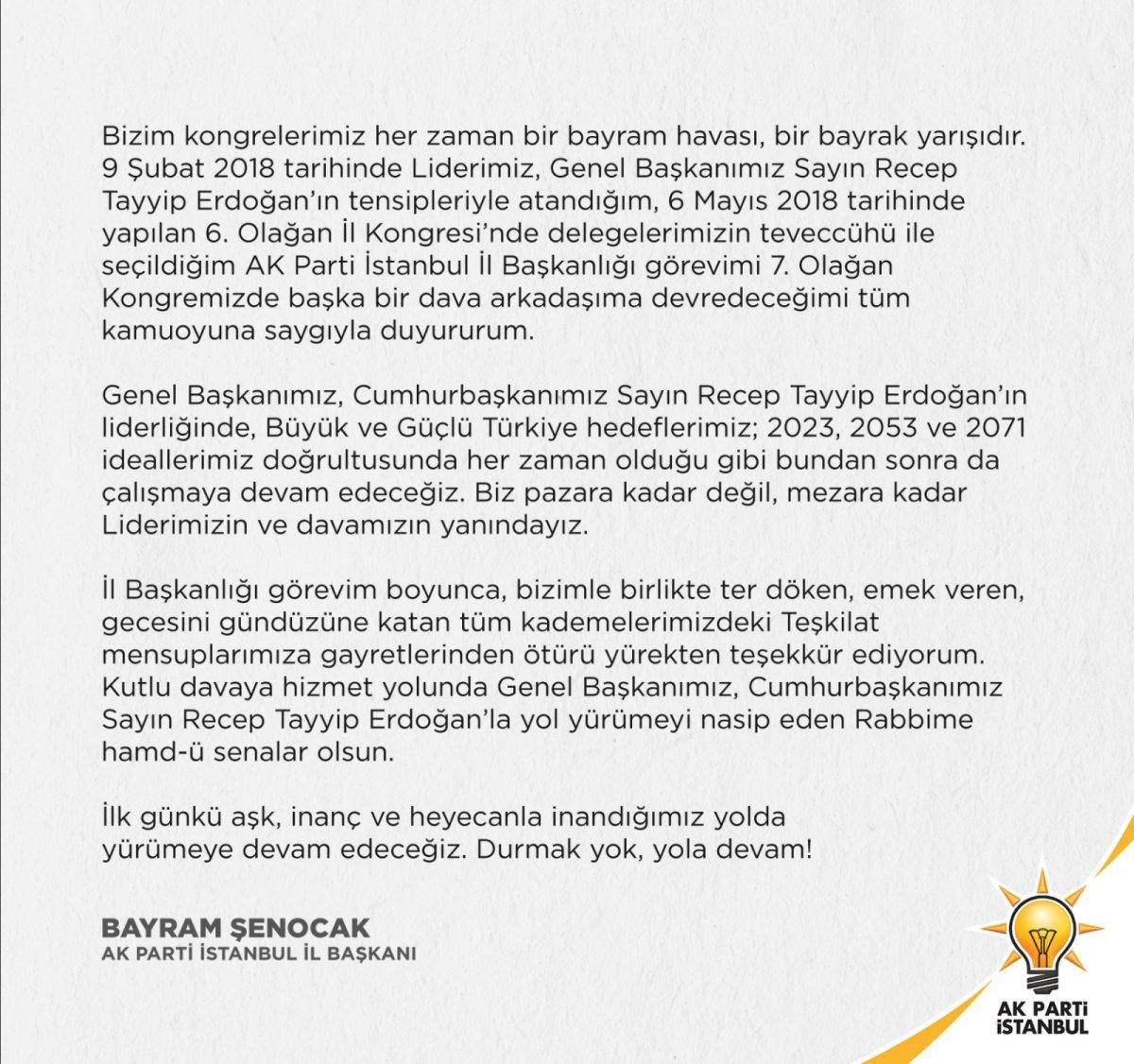 AK Parti İstanbul İl Başkanı Şenocak kongrede aday olmayacağını duyurdu #2