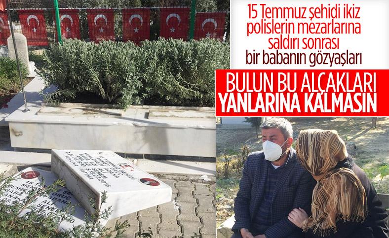 Adana'da 15 Temmuz şehidi ikiz polislerin mezarlarına alçak saldırı