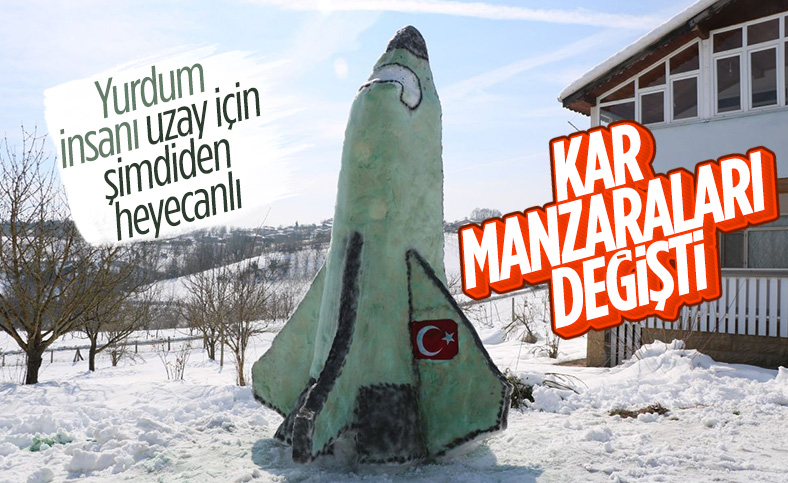 Sakarya'da yağan karla, uzay mekiği yapıldı