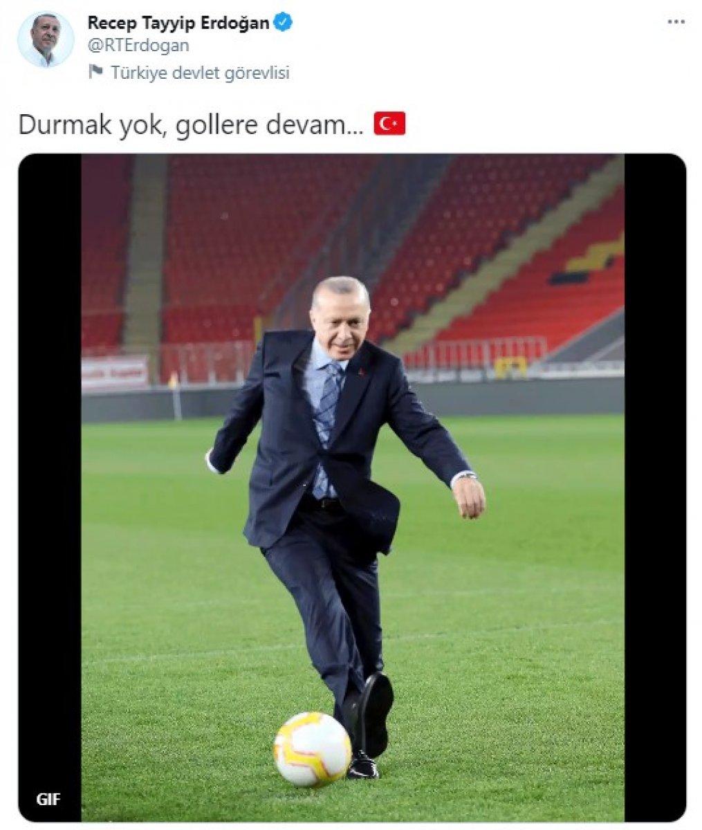 Cumhurbaşkanı Erdoğan dan gol paylaşımı #1