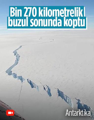 Antarktika'daki 1270 kilometrelik buz kütlesinde kopma meydana geldi