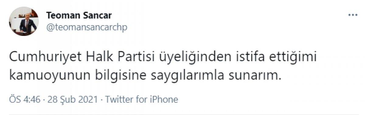 Teoman Sancar, CHP den istifa etti #1