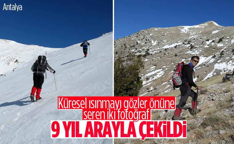 Antalya'da küresel ısınmayı gözler önüne seren iki fotoğraf