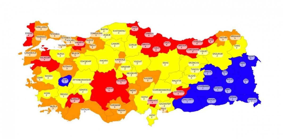 81 ilin koronavirüs risk haritası #1