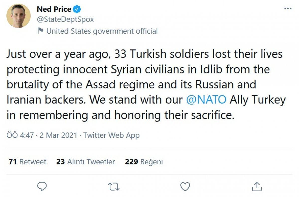 ABD Dışişleri: İdlib'de hayatını kaybeden 33 Türk askerini anıyoruz