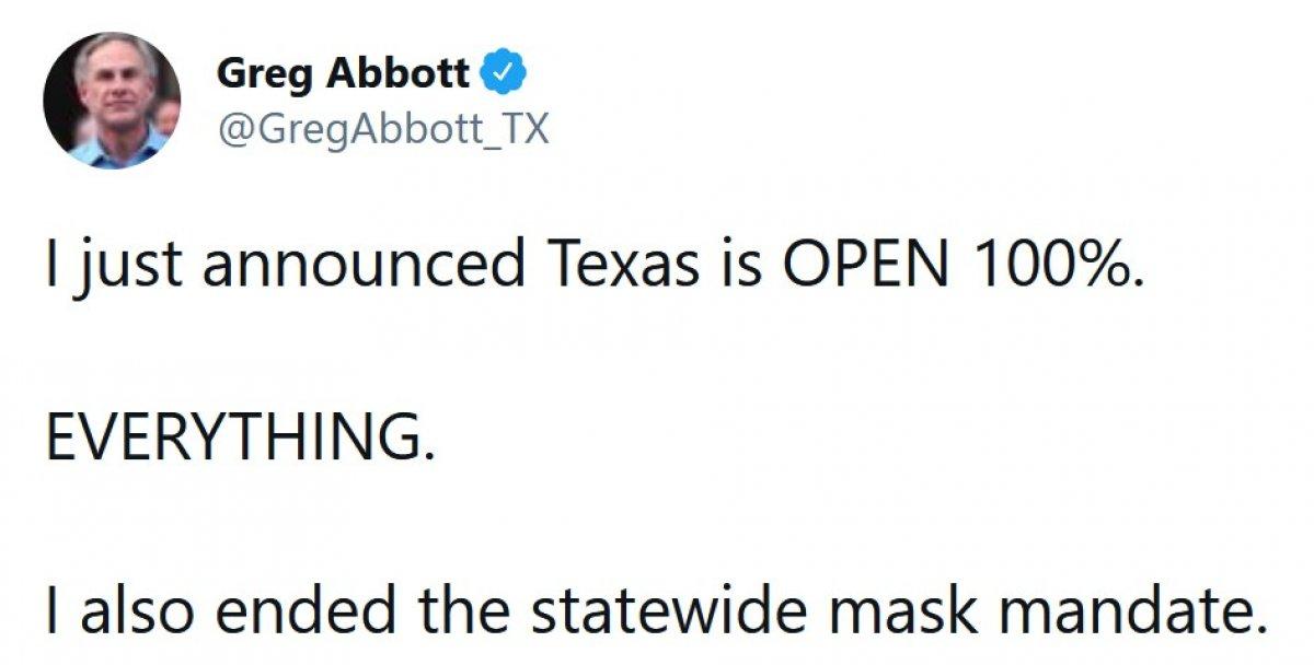 Teksas Valisi Abbot: Koronavirüs önlemlerini kaldırdım #1